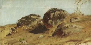 大石同胞你怎麽知道这些?_Landscape with Three big Stones(also known as Hügellandschaft mit drei großen Steinen)-奥斯瓦尔德·阿肯巴赫