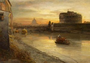 观看了Tiber和天使奖罗马夜灯火通明后迎接天使堡_View of the Tiber and Castel Sant'Angelo at Evening(also known as Rom. Abendstimmung am Tiber mit Blick auf die Engelsburg)-奥斯瓦尔德·阿肯巴赫