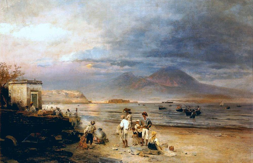 风景人物油画_那不勒斯海湾上的渔民,维苏威火山在远处_Fishermen on the Bay of Naples with Vesuvius Beyond-奥斯瓦尔德·阿肯巴赫