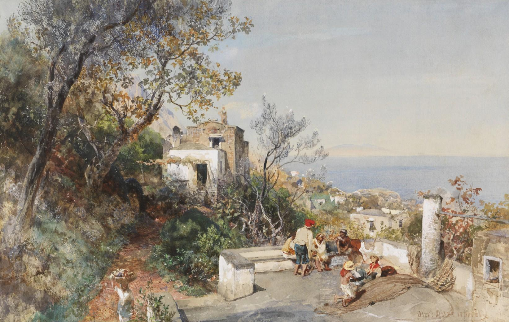 风景人物水彩画_那不勒斯湾的景色-奥斯瓦尔德·阿肯巴赫