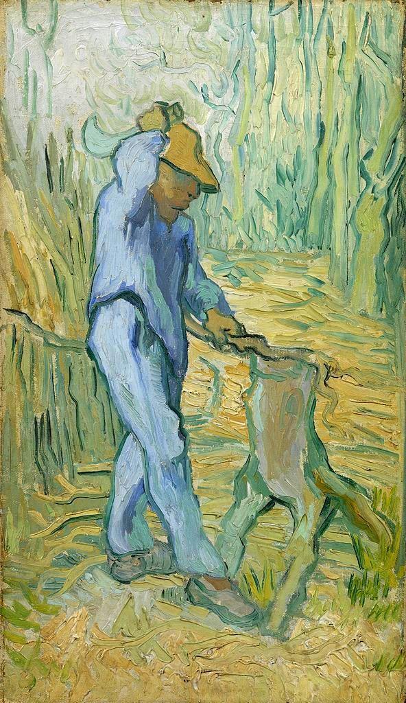 场景人物油画_伐木工人(米勒后)_The Woodcutter (after Millet)-文森特·梵高