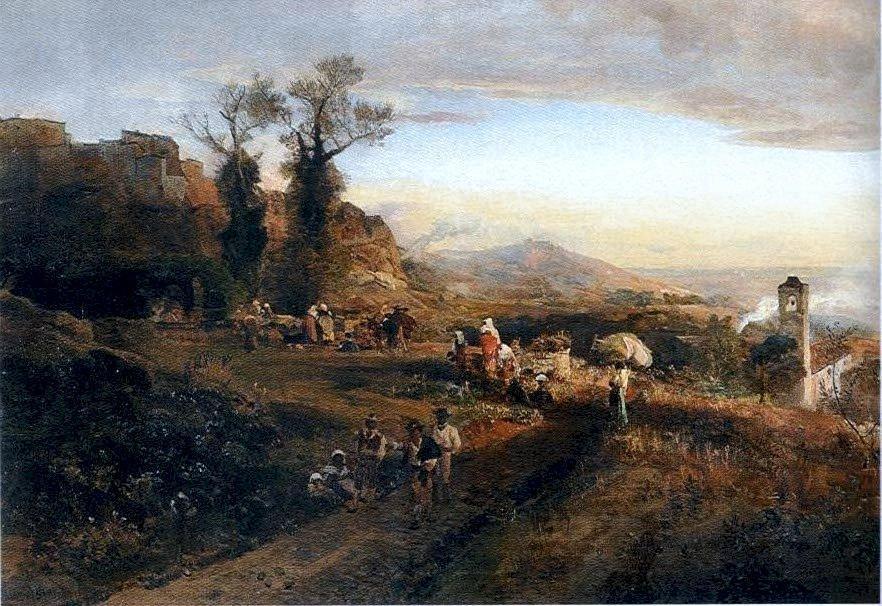 风景人物油画_意大利_Montefiascone-奥斯瓦尔德·阿肯巴赫