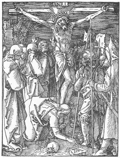 场景人物版画_小受难:24.十字架上的基督_Small Passion: 24. Christ on the Cross-阿尔布雷希特·丢勒