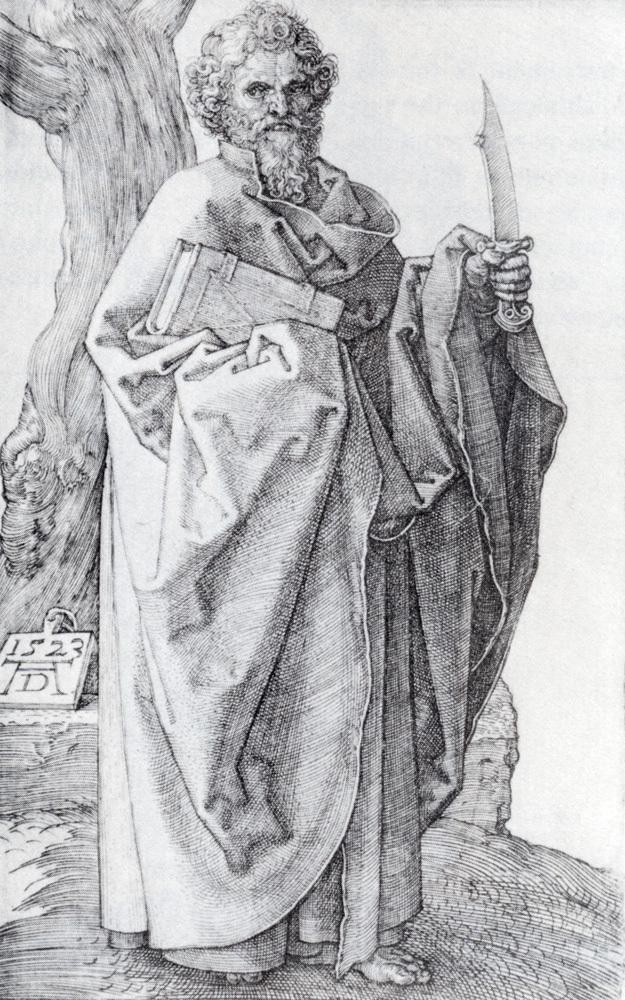 人物版画_圣巴塞洛缪_Saint Bartholomew-阿尔布雷希特·丢勒