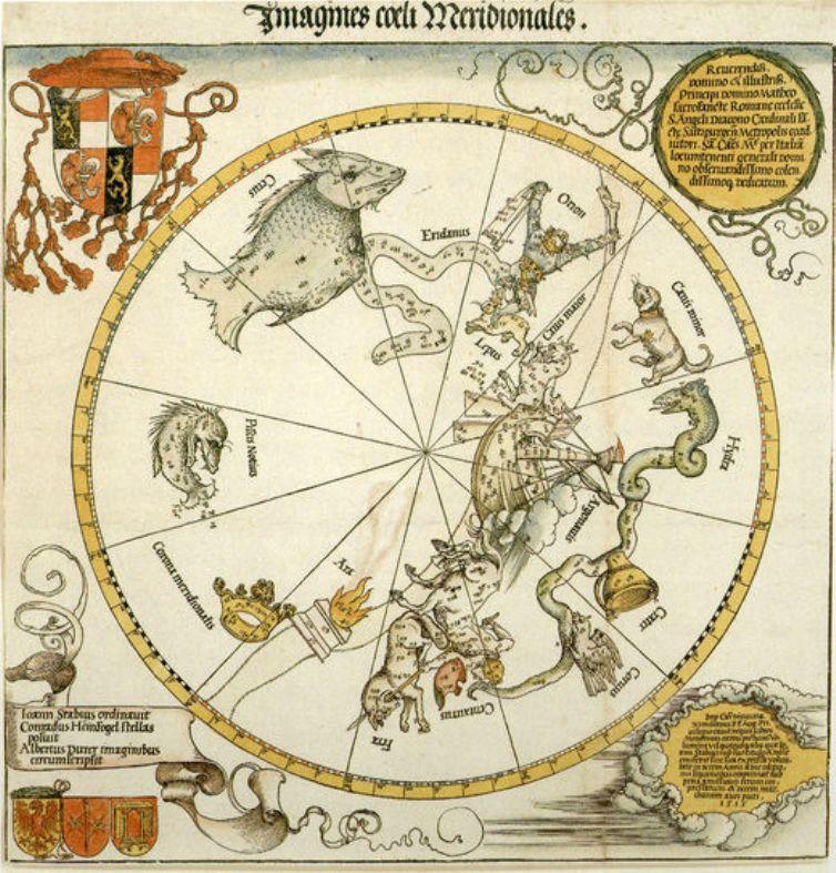 彩色装饰版画_南方天空的地图_Map of the Southern Sky-阿尔布雷希特·丢勒