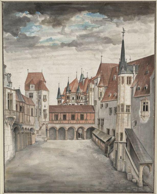 场景水彩画_在因斯布鲁克堡外_Hof der Innsbrucker Burg-阿尔布雷希特·丢勒