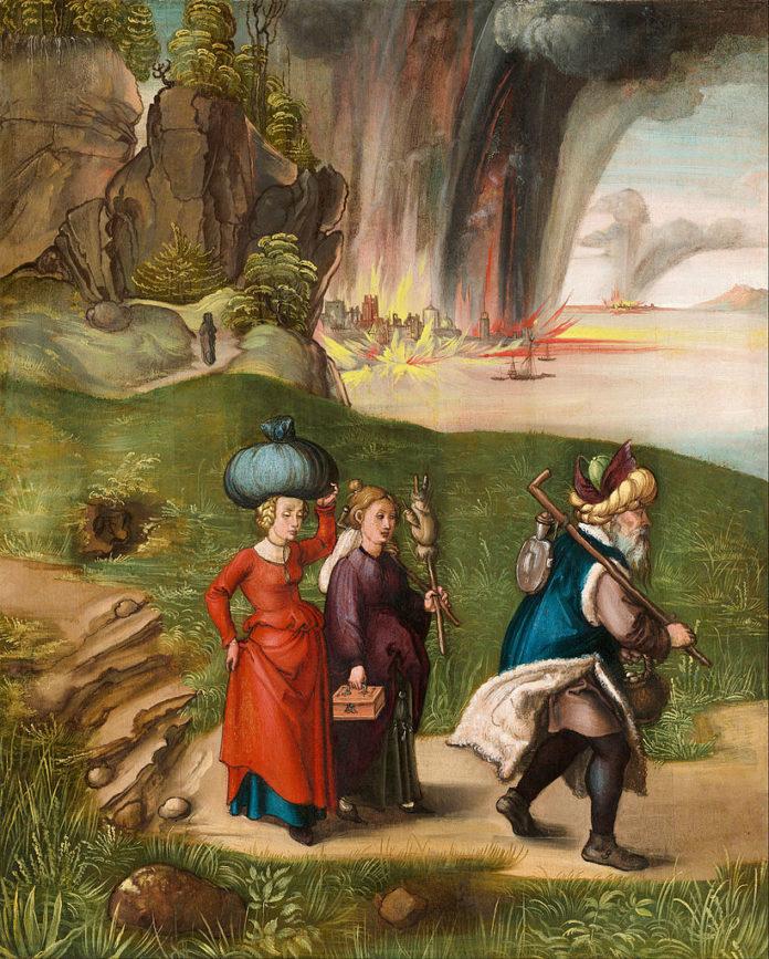 罗得和他的女儿从所多玛逃跑