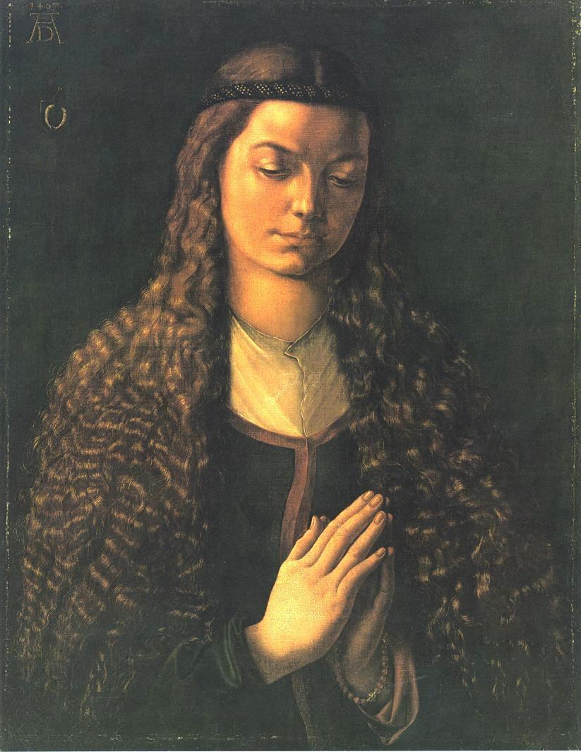 肖像油画_一个长发女人的画像_Portrait of a Woman with Her Hair Down-阿尔布雷希特·丢勒