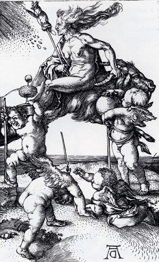 人物版画_骑在山羊背上的女巫_Witch Riding Backwards On A Goat-阿尔布雷希特·丢勒