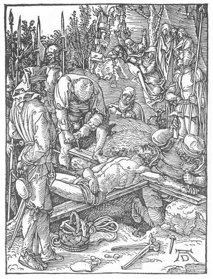 场景人物版画_小受难:23.基督被钉在十字架上_Small Passion: 23. Christ Being Nailed to the Cross-阿尔布雷希特·丢勒