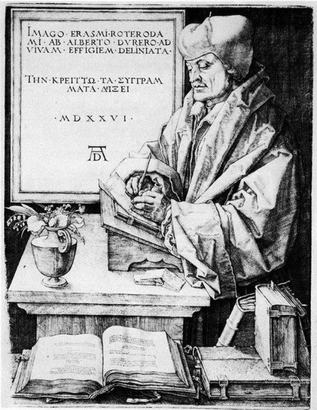 人物版画_伊拉斯谟的肖像_Portrait of Desiderius Esrasmus-阿尔布雷希特·丢勒