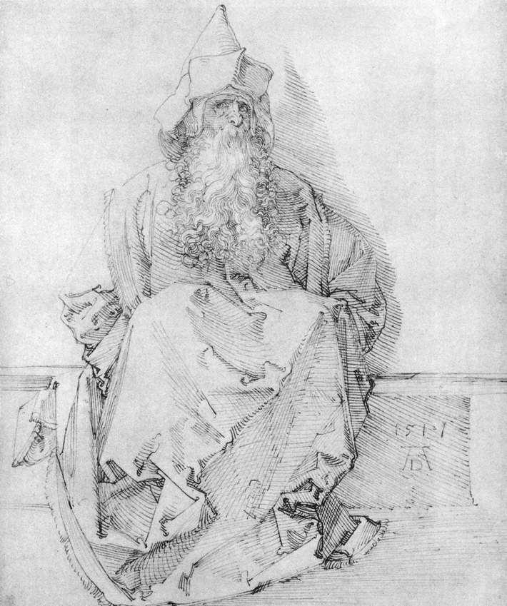 人物素描画_坐着的先知_Seated Prophet-阿尔布雷希特·丢勒