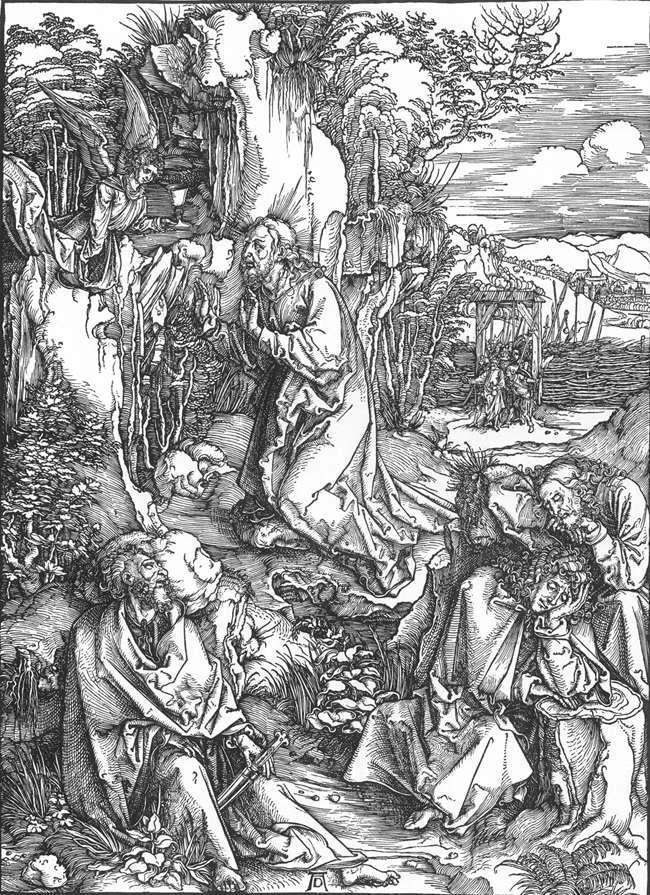 场景人物版画_基督受难记:2.基督在橄榄山上_The Large Passion: 2. Christ on the Mount of Olives-阿尔布雷希特·丢勒