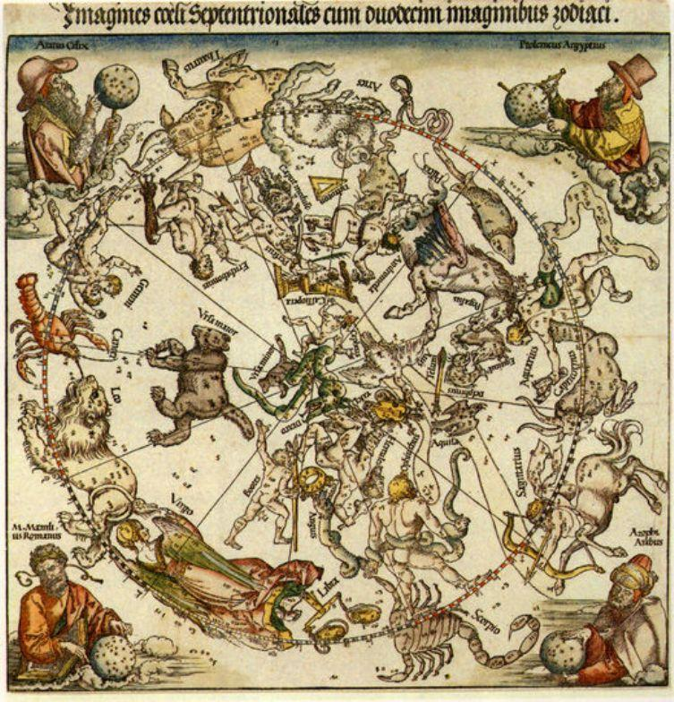 彩色装饰版画_北方天空的地图_Map of the Northern Sky-阿尔布雷希特·丢勒