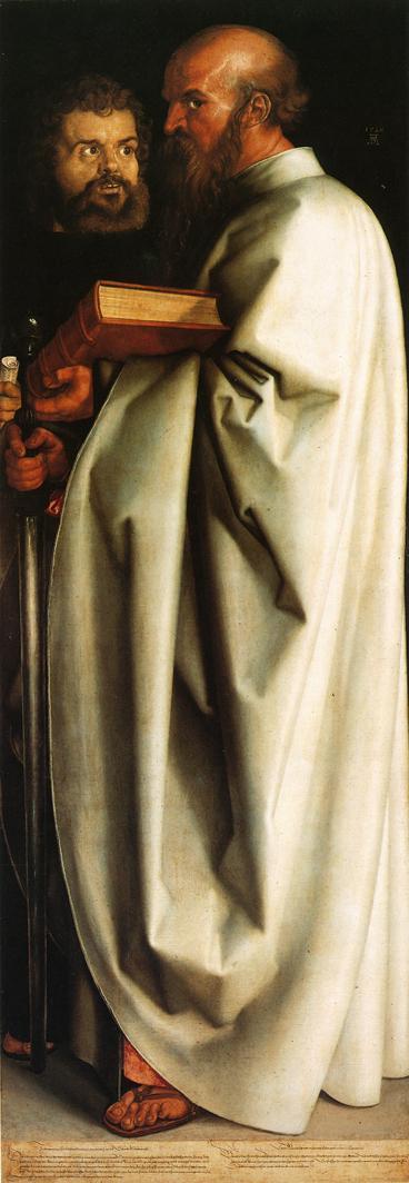人物油画_四圣人(右):圣保罗和圣马可_Four Holy Men (right panel): St. Paul and St. Mark-阿尔布雷希特·丢勒