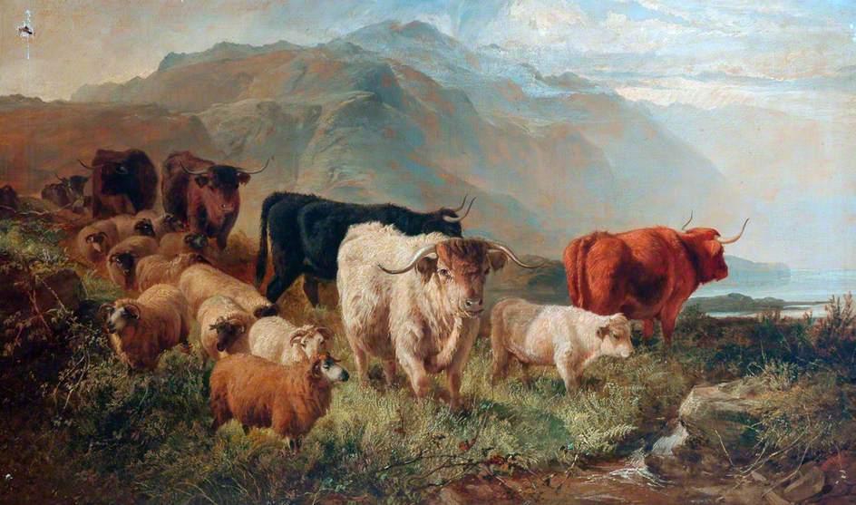 岩石景观与牛羊_Rocky Landscape with Cattle and Sheep-约瑟夫·亚当
