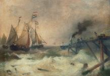 渔船和蒸汽船在奥斯坦德码头