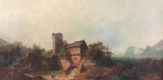 废墟和农舍的景观