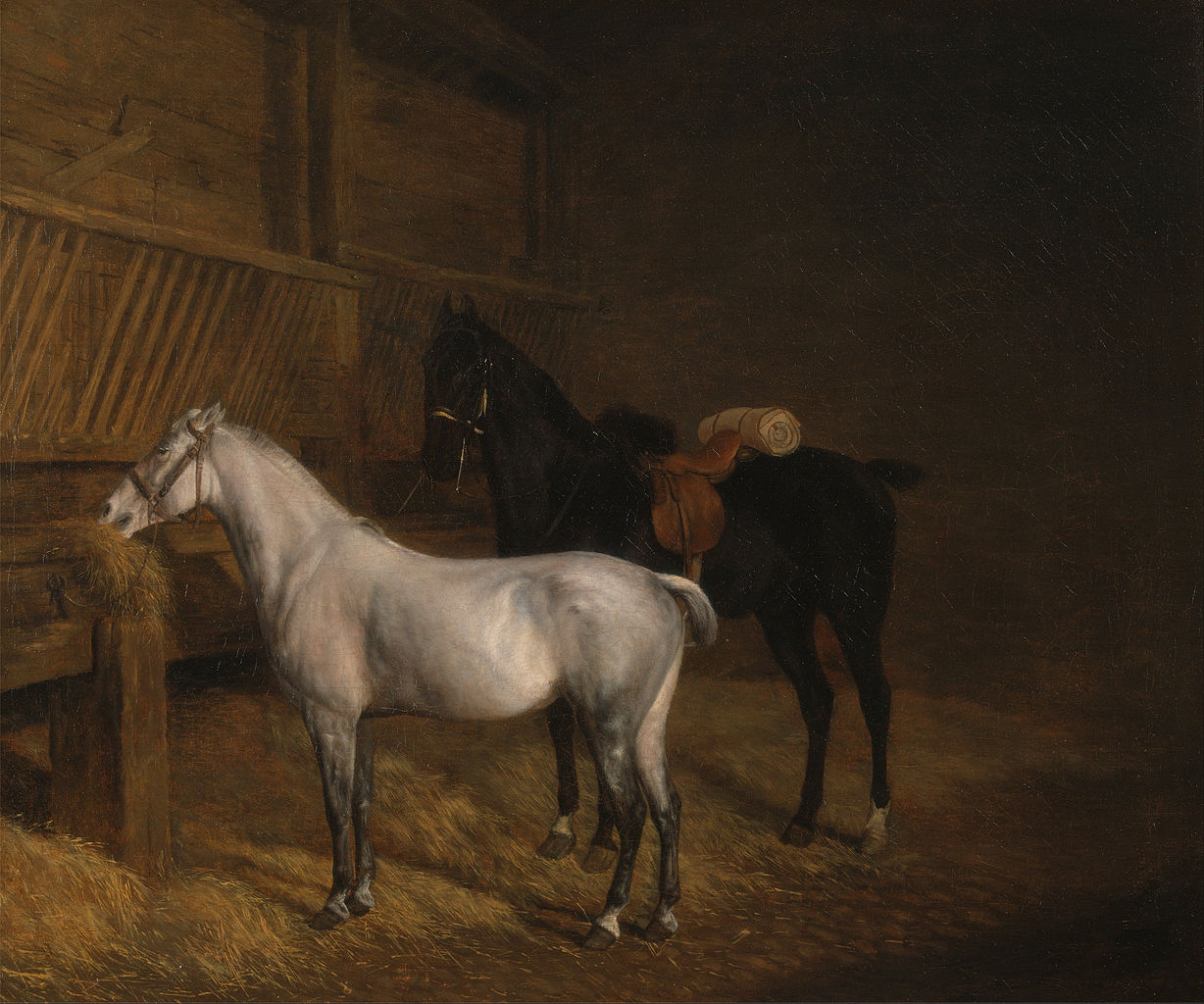一匹灰色的小马和一匹黑色的战马在马厩里_A Grey Pony and a Black Charger in a Stable-Jacques-Laurent Agasse
