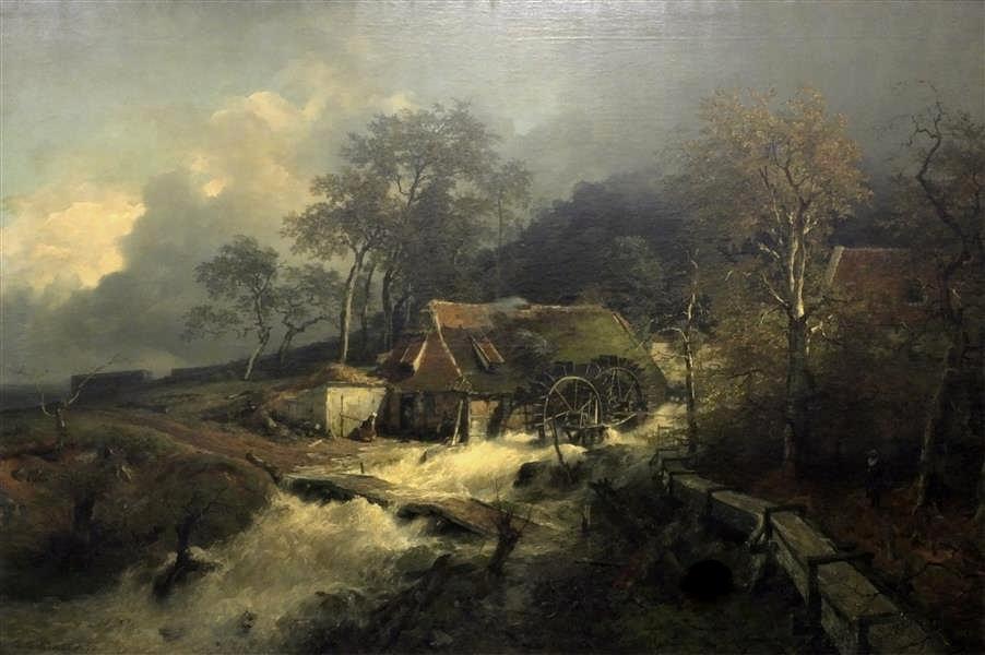 溪流旁边的水车_Wassermühle am Waldbach-安德烈亚斯·阿肯巴赫