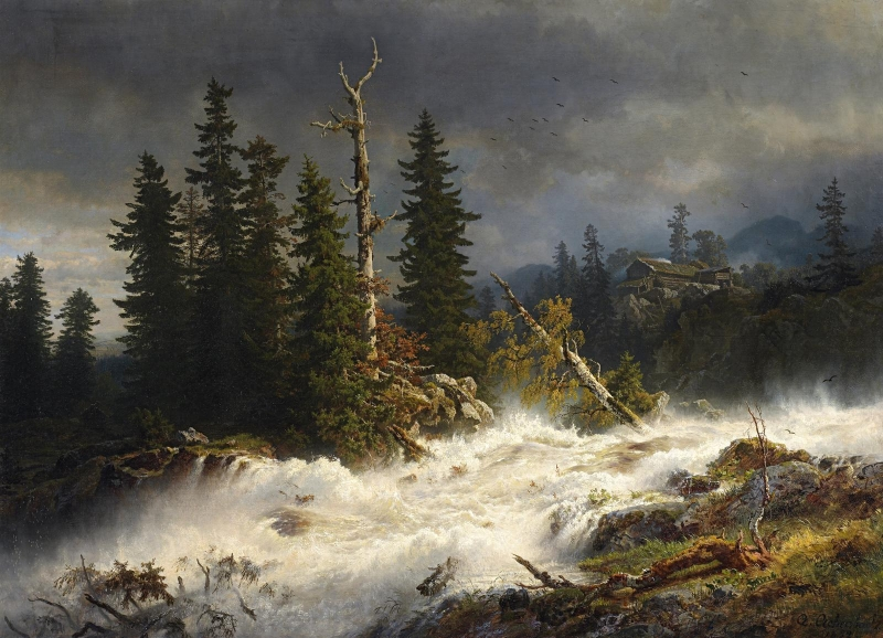 挪威森林景观中的白水(挪威人Waldlandschaft也称Wildwasser)_Whitewater in a Norwegian Forest Landscape(also known as Wildwasser in norwegischer Waldlandschaft)-安德烈亚斯·阿肯巴赫