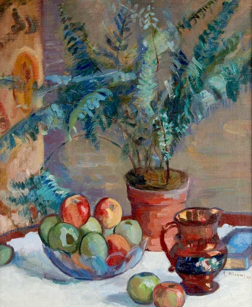 《波特·弗恩的静物》,《苹果》和《瓦罐》_Still Life with Potter Fern, Apples, and Jug-卢西恩·艾布拉姆斯