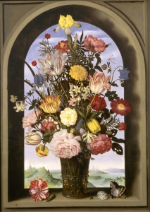 "花瓶里插着花(亦称""拱形窗中的花束"")_Vase with Flowers in a Window(also known as 'Bouquet in an Arched Window')-安布罗修斯·博沙特"