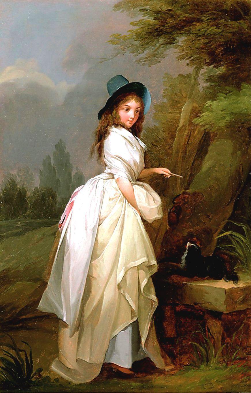 一位年轻女子在树上题字_A Young Woman Inscribing a Tree-路易斯·莱奥波德·博伊