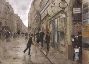 雨中黎塞留街_Rue de Richelieu in the Rain-让·乔治斯·贝劳德