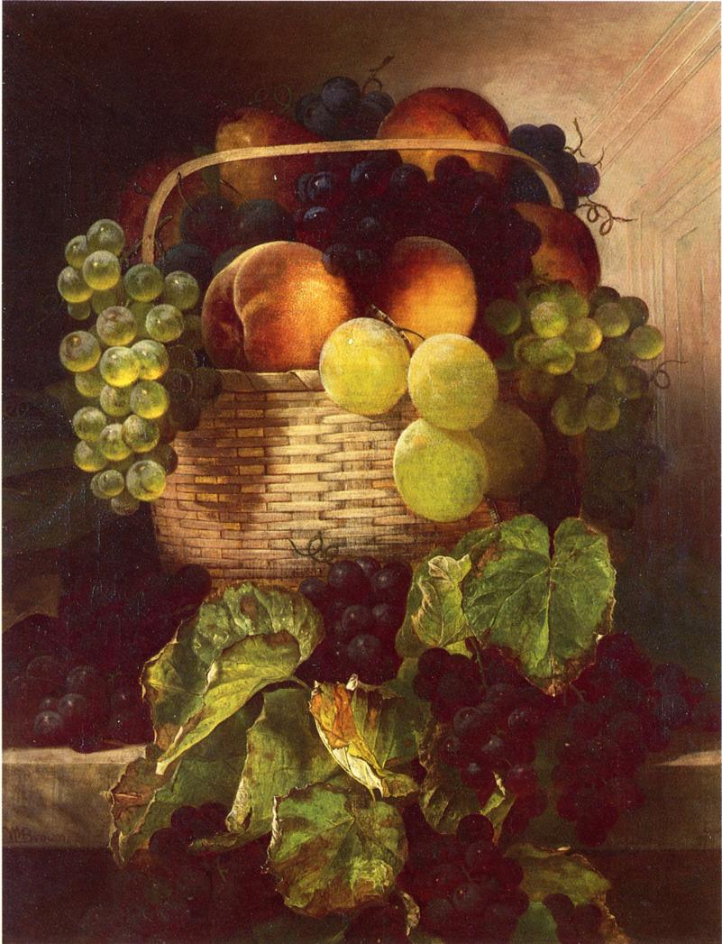 葡萄静物。李子和桃子在一个篮子里_Still Life with Grapes. Plums and Peaches in a Basket-威廉·梅森布朗