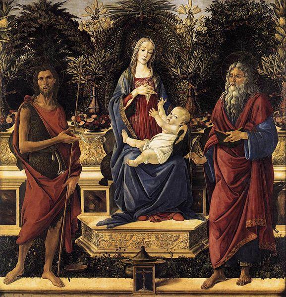 圣母和圣婴被加冕(巴尔迪祭坛)_The Virgin and Child Enthroned (Bardi Altarpiece)-桑德罗·波提切利