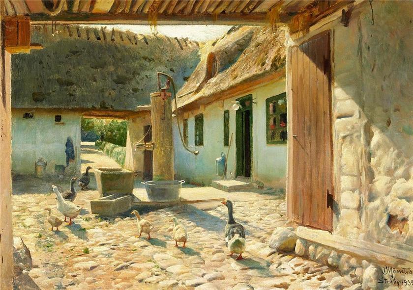 夏天,鹅在院子里的鹅卵石上_Geese on the cobblestones in the courtyard on a summer-彼得·莫克·蒙森德