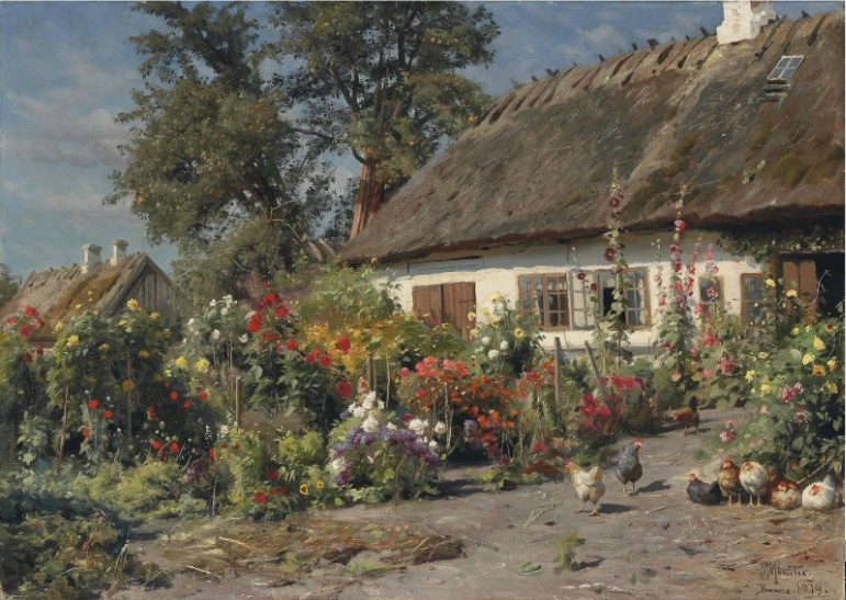 鸡舍花园_A Cottage Garden with Chickens-彼得·莫克·蒙森德