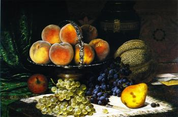 西瓜、桃子、书籍和信件的静物写生_Still LIfe with Melon, Peaches, Books and Letters-威廉·梅森布朗