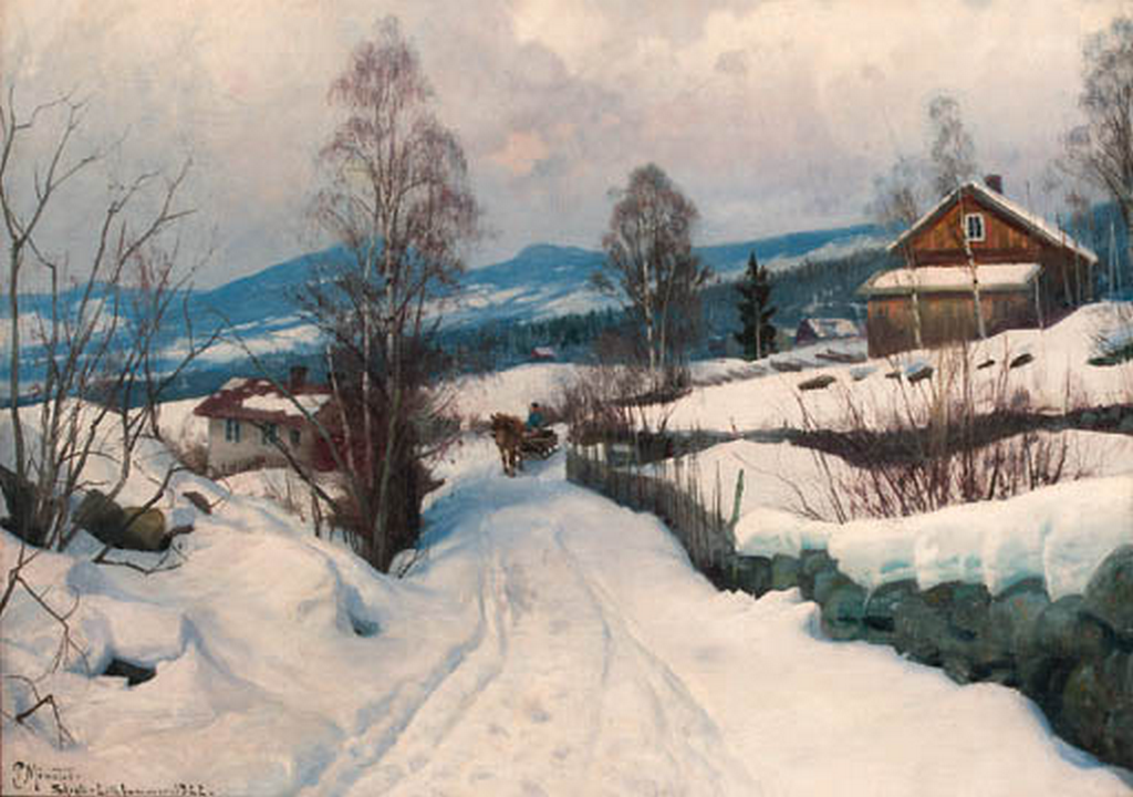 利勒哈默附近的冬季景观_Winter Landscape near Lillehammer-彼得·莫克·蒙森德