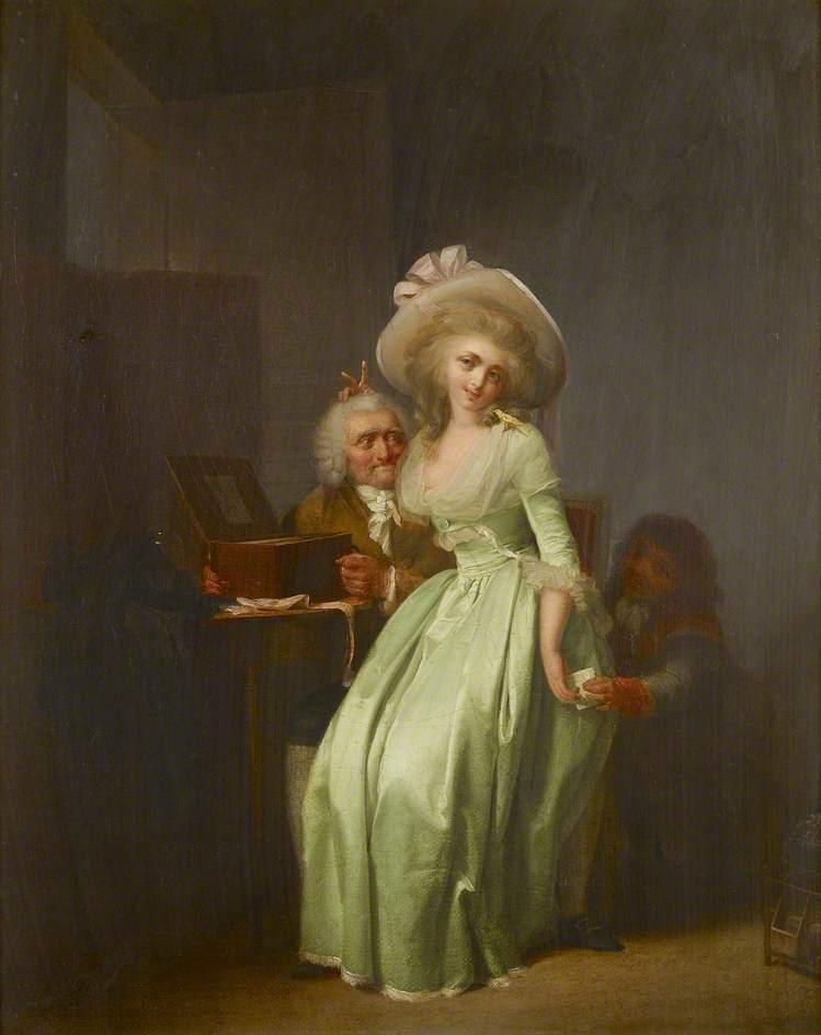 一位年轻女子嘲弄一位年长的爱慕者_A Young Woman Mocking an Elderly Admirer-路易斯·莱奥波德·博伊