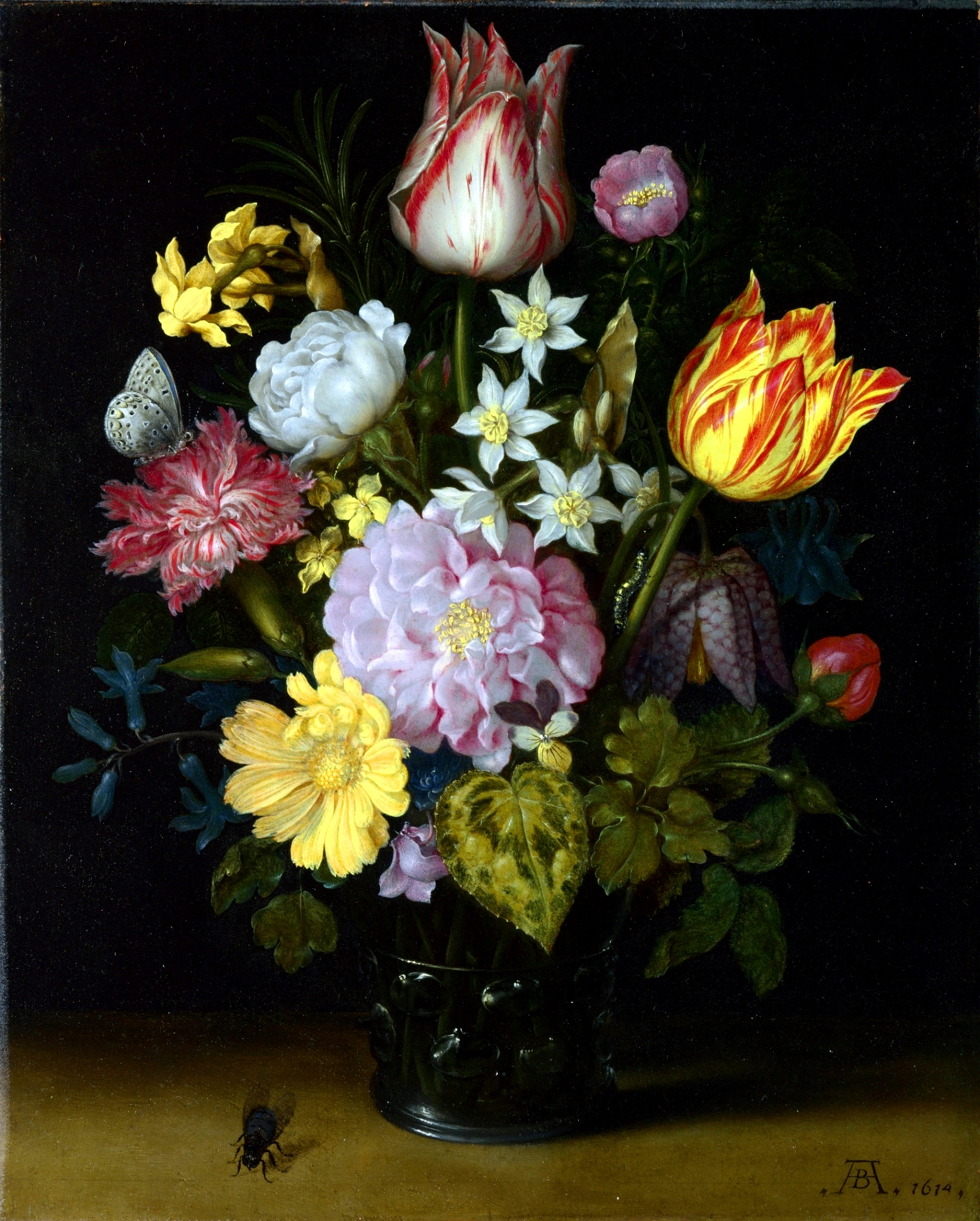 玻璃花瓶里的花_Flowers in a Glass Vase-安布罗修斯·博沙特