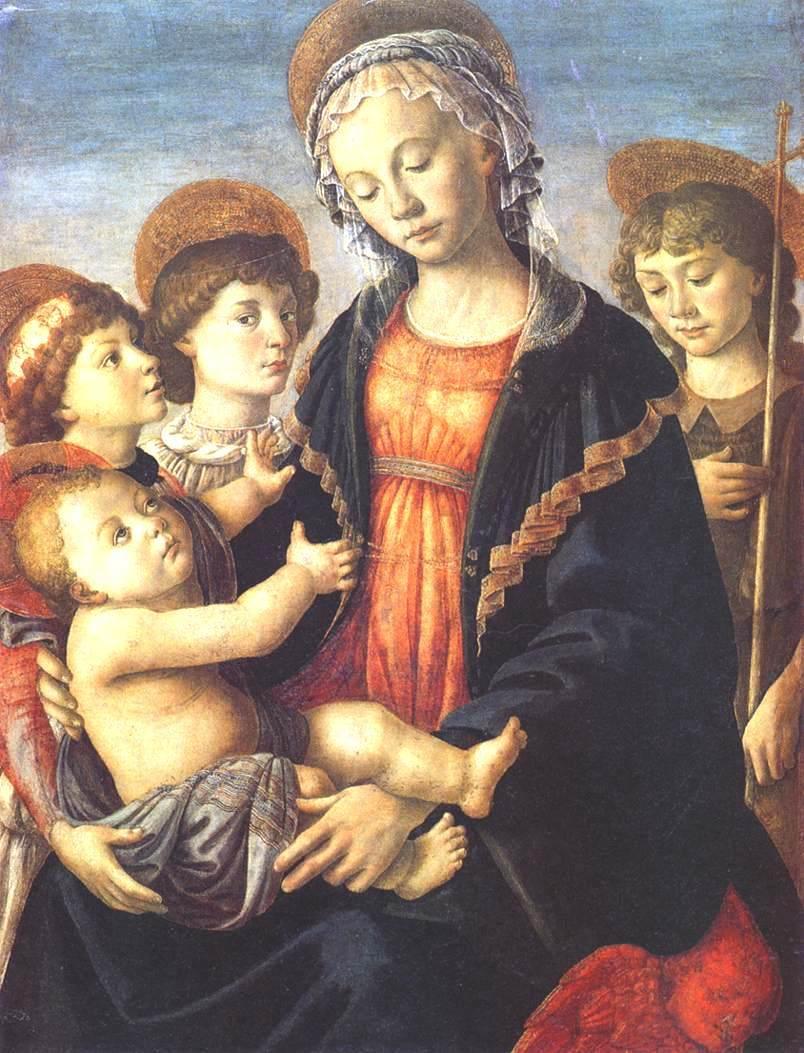 童女和两个天使,还有年轻的施洗者圣约翰_The Virgin and Child with Two Angels and the Young St John the Baptist-桑德罗·波提切利