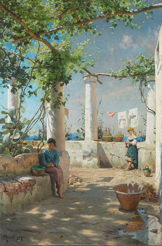 夏日意大利凉亭的一幕_Scene from an Italian Pergola in Summer-彼得·莫克·蒙森德
