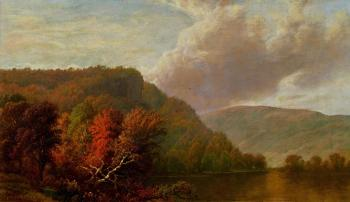 秋景,博尔顿登陆,乔治湖_Autumn Scene, Bolton's Landing, Lake George-威廉·梅森布朗