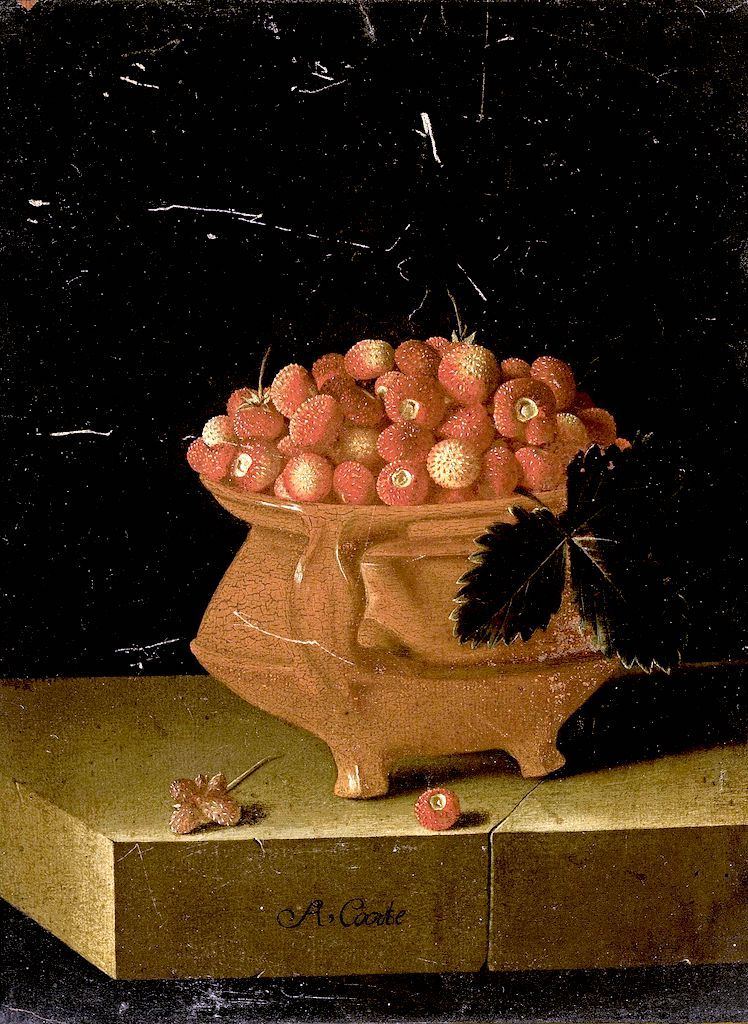 一碗草莓的静物_Still Life with a Bowl of Strawberries-艾德里安·库特