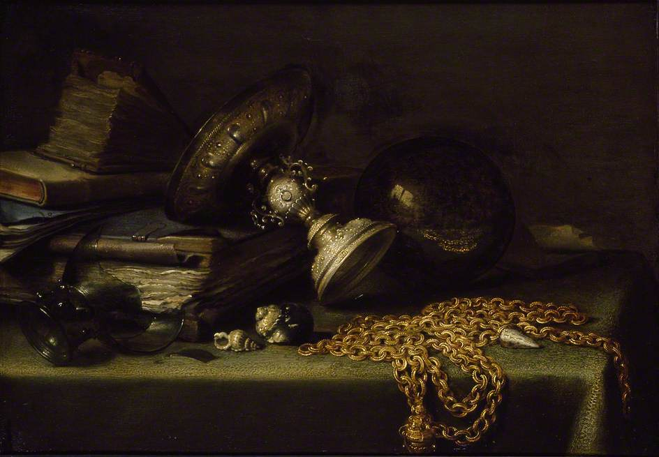 金色链子上的静物_Still Life with a Gold Chain-彼特·克莱茨