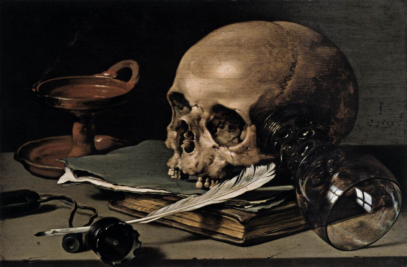 静物:骷髅和羽毛笔_Still Life: Skull and Writing Quill-彼特·克莱茨