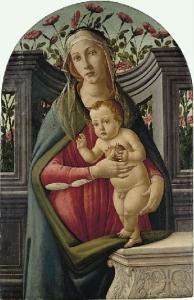 圣母和孩子,带着一个石榴,在一个后面有玫瑰的凹室里_The Madonna and Child, with a Pomegranate, in an Alcove with Roses behind-桑德罗·波提切利