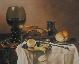 早餐静物,罗默,肉馅饼,柠檬和面包_Breakfast Still Life with Roemer, Meat Pie, Lemon and Bread-彼特·克莱茨