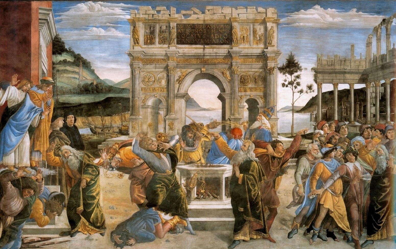 刑罚可拉,用石头打死摩西,亚伦_The Punishment of Korah and the Stoning of Moses and Aaron-桑德罗·波提切利