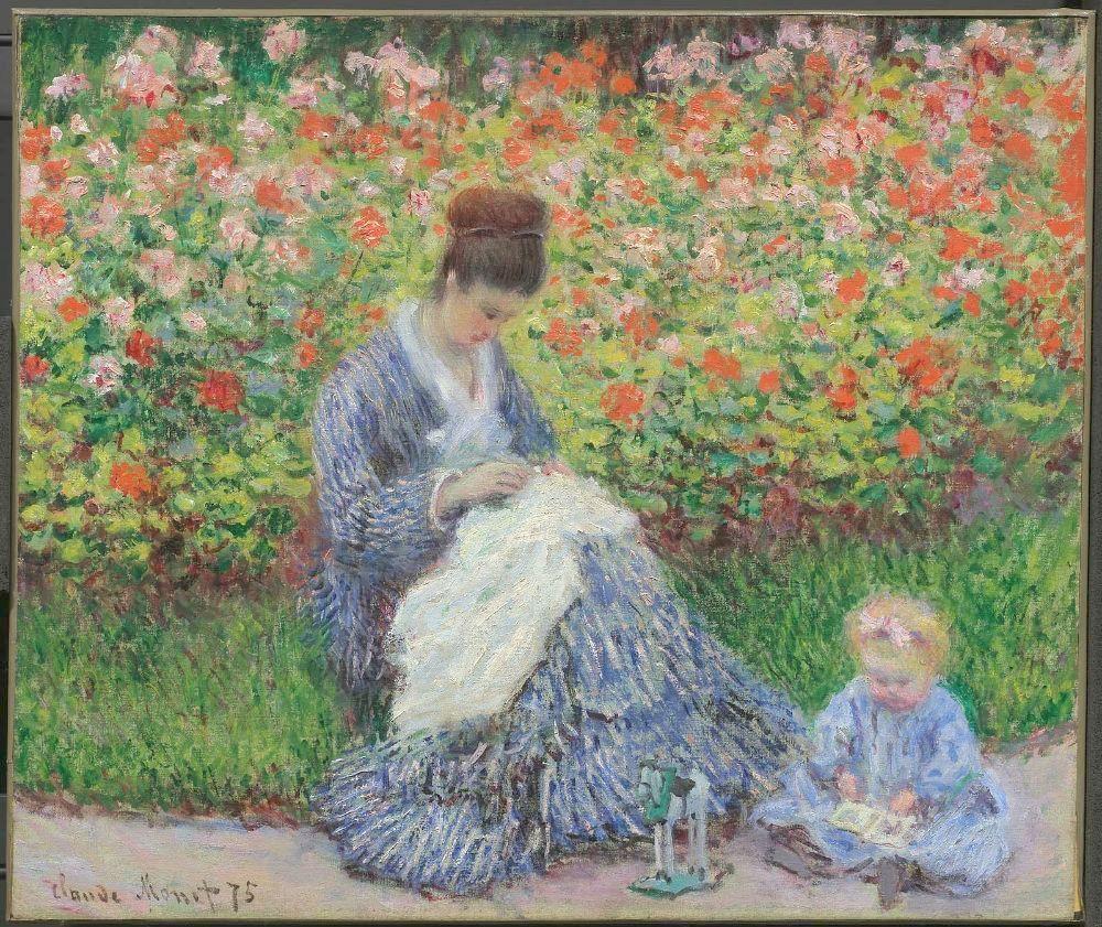 卡米尔·莫奈和一个孩子在阿让特伊的艺术家花园里_Camille Monet and a Child in the Artist's Garden in Argenteuil-克劳德·莫奈