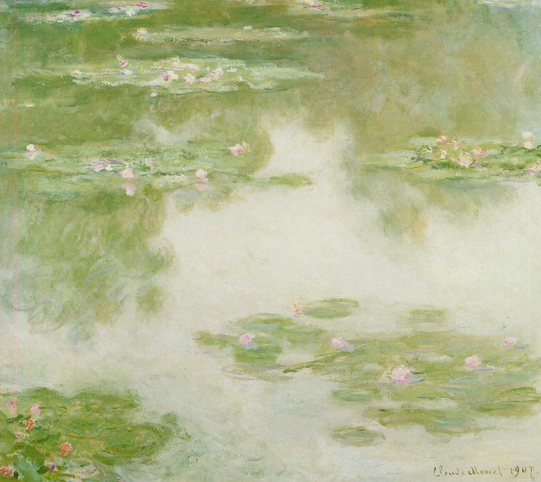 睡莲(睡莲池、9组莲叶、莲花、树影、黄绿暖色水面)_Water Lilies-克劳德·莫奈