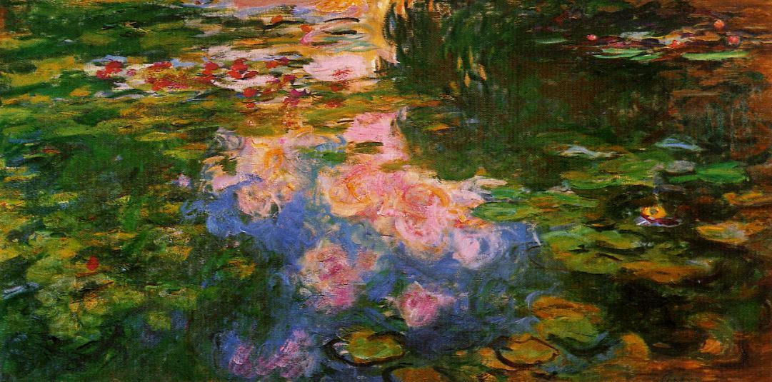 睡莲盛开的池塘(黄昏、睡莲池、莲叶、莲花、池水、云影)_The Water Lily Pond-克劳德·莫奈