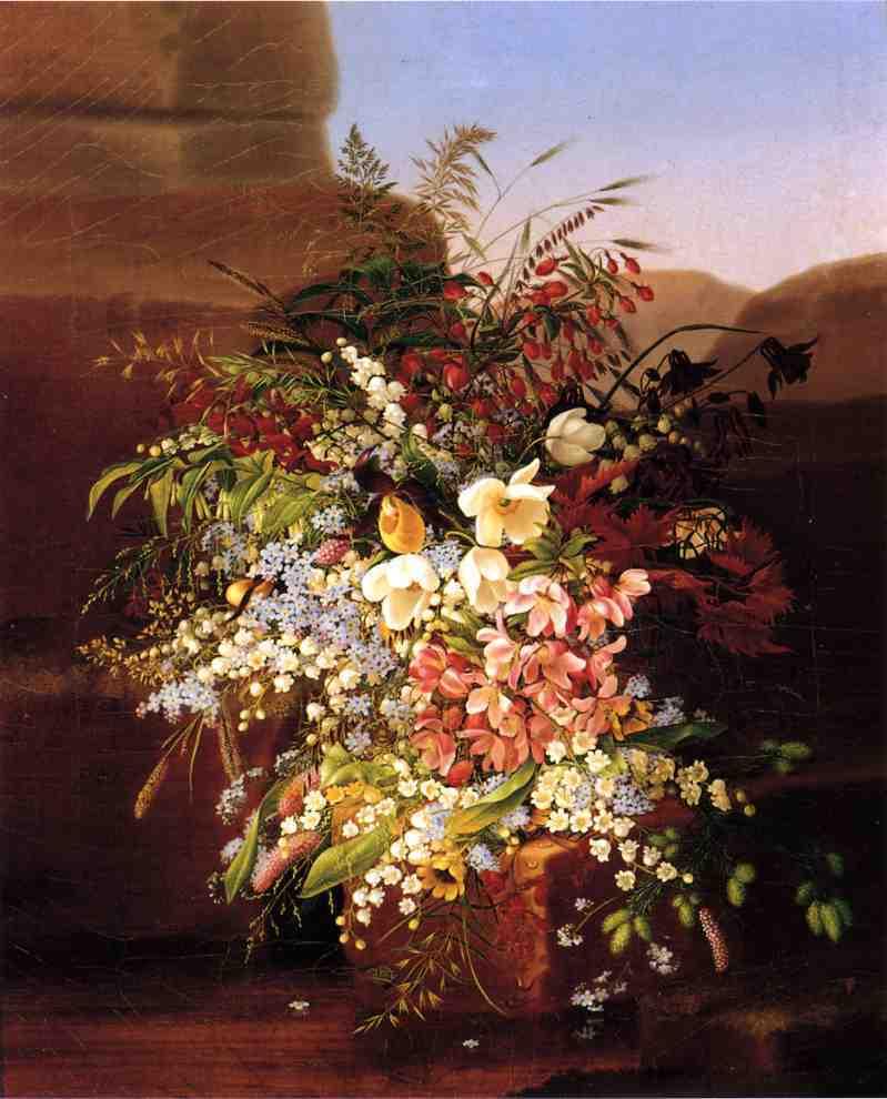花卉静物(鲜花、花卉、勿忘我、珍珠梅、谷穗)-阿德莱德·迪特里希